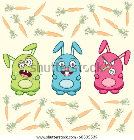 three cartoon rabbits and carrots - stock vector