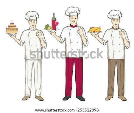 Three chefs keep food cake, wine and chicken. - stock vector