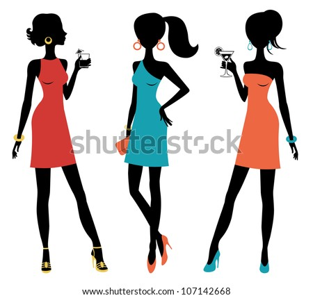 Three chick women posing at a party - stock vector