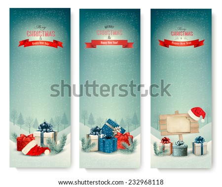 Three Christmas banners with presents. Vector.  - stock vector