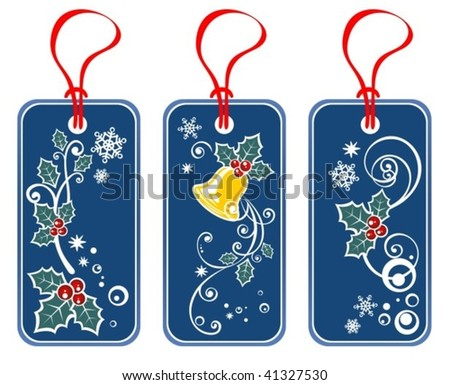 Three Christmas price set tags isolated on a white background.