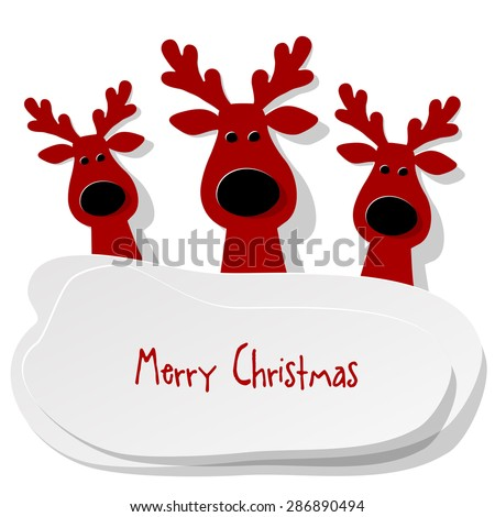 Three Christmas Reindeer red on a white background - stock vector