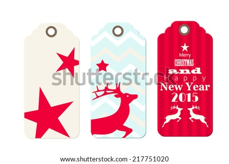 Three christmas  tags in shabby chic style, isolated on white background, vector illustration, eps 10 with transparency - stock vector