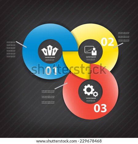 Three circular relation. Colorful vector design for workflow layout, diagram, number options, web design, presentation template, infographics. - stock vector