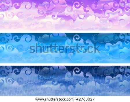 Three cloudy sky weather banners (other landscapes are in my gallery) - stock vector