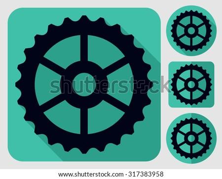Three cogwheel icon. Bike parts. Flat long shadow design. Bicycle icons series. - stock vector