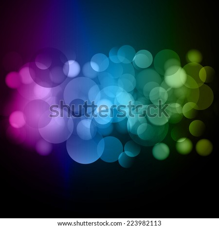 three color bokeh Festive background. Christmas and New Year. Blurred defocus lights. Vector background.