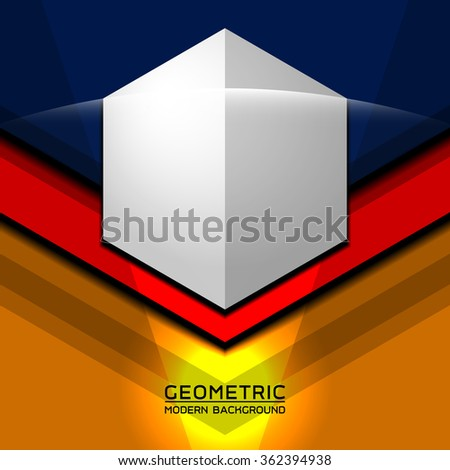 three color geometric modern template, vector illustration