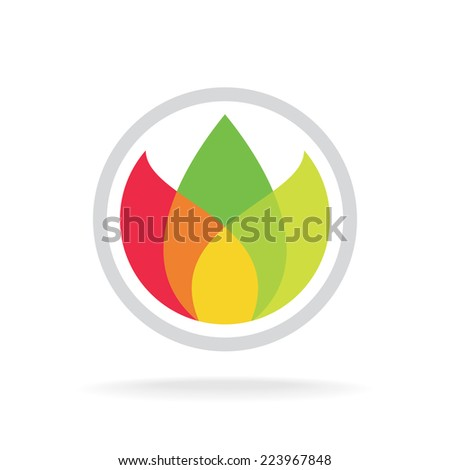 Three color leaves logo template. Floral, ecology or tea concept - stock vector