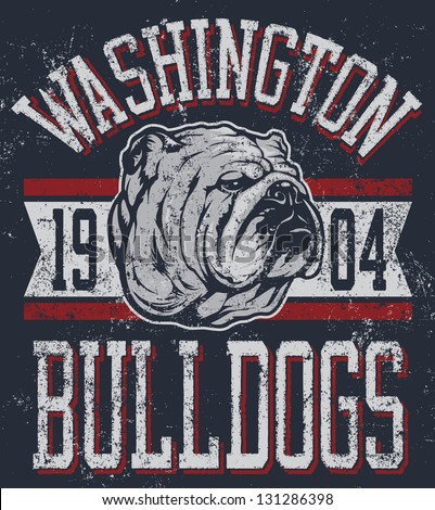 "Three color retro ""Bulldogs"" athletic t-shirt design complete with bulldog mascot vector illustration, vintage athletic fonts and matching textures (all on separate layers, of course). - stock vector"