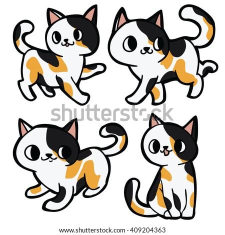 Three Color Tabby Cute Cat Cartoon Stock Vector 409204363 ... Tabby Cat Cartoon Drawing