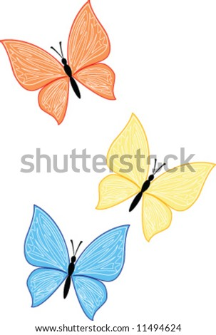 three color vector butterfly - stock vector