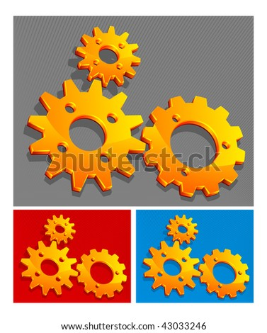 Three-color vector gears background, technical, mechanical illustration pattern