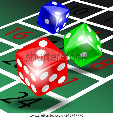 Three colored dice with shadow on green roulette table illustration vector - stock vector