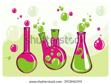 Three colored flasks with bubbles on abstract background waves. Vector illustration.