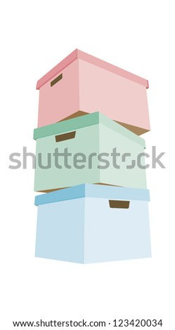 Three colorful cardboard boxes; red, green and blue - stock vector