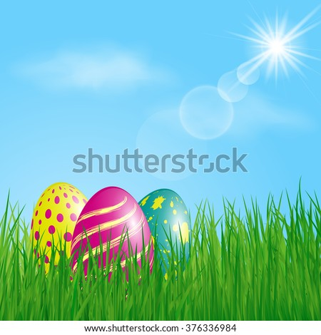 Three colorful Easter Eggs in the grass on sunny sky background. Vector illustration.