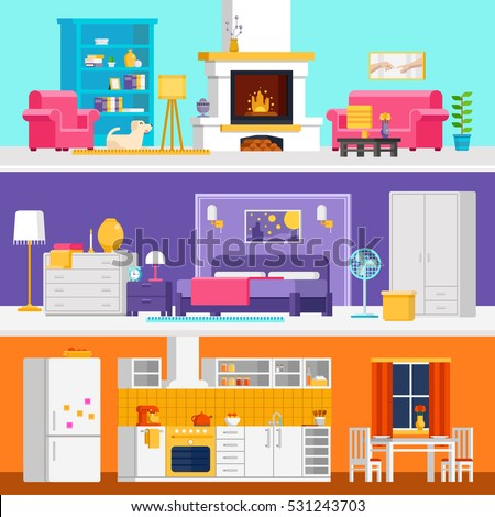 Three Colorful Flat Rooms Vector Illustrations To Infographic And Banner Design Living Room Bedroom