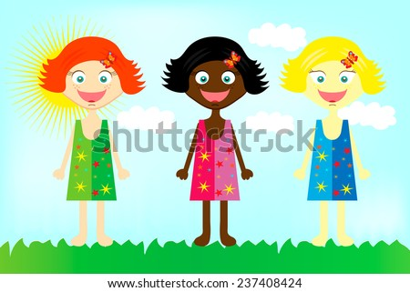 Three colorful happy  girls from all over the world - stock vector