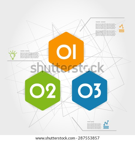 three colorful infographic hexagons. infographic concept.