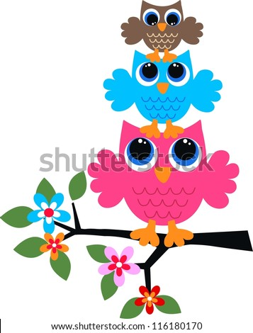 three colorful owls - stock vector