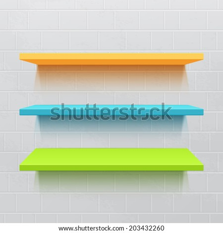Three colorful realistic shelves on brick wall. Vector illustration - stock vector