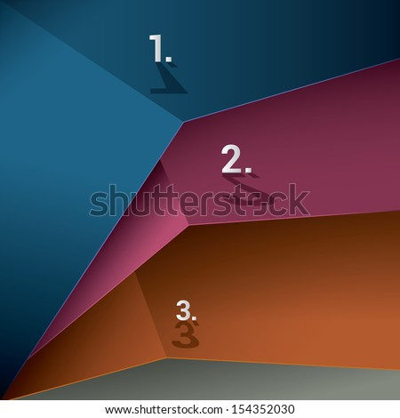 Three colorful sheets in a geometric abstract minimal 3d composition for universal use  - stock vector