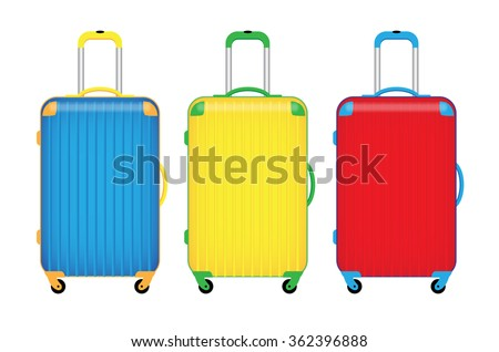 three colorful travel luggage isolate on white background vector illustrations - stock vector