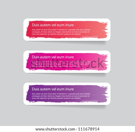 Three colorful vector stickers / labels / tags with a brush stroke hand painted background - stock vector