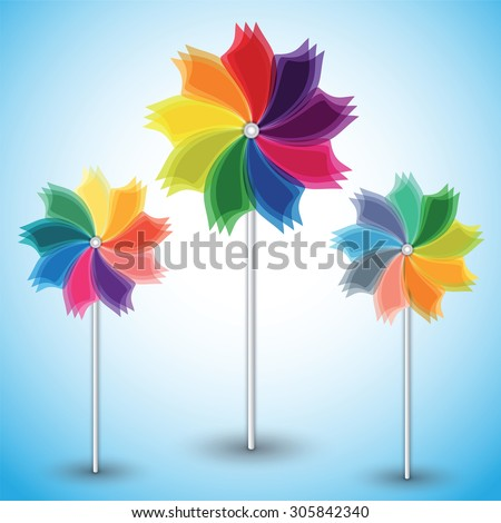 Three colorful windmills on blue background. Vector illustration. - stock vector