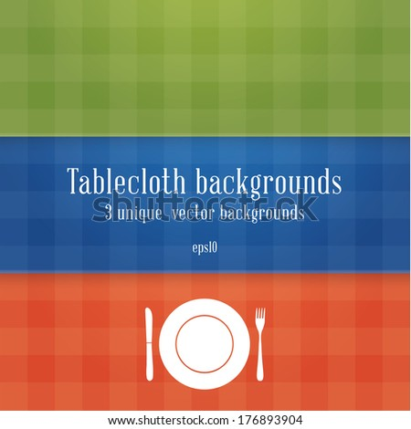 Three colorfully tablecloth backgrounds. - stock vector