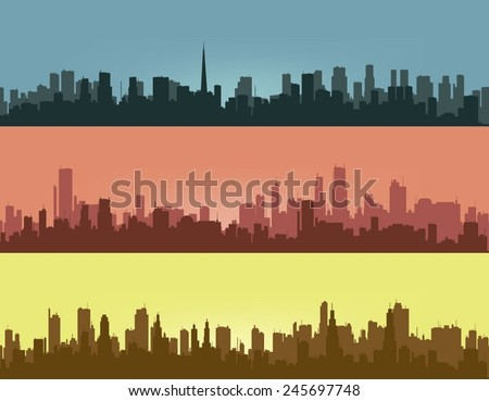 Three coloured contours of city. - stock vector