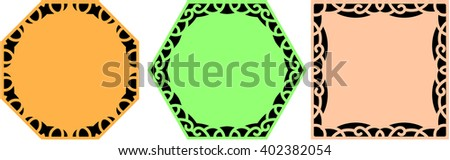Three common shapes with border decoration - stock vector