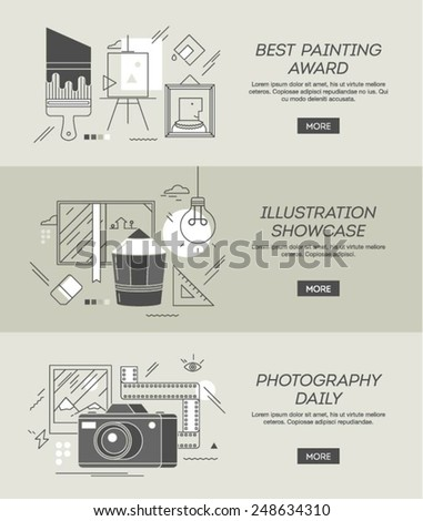 three conceptual banners on topics of painting, illustration and photography, vector illustration - stock vector