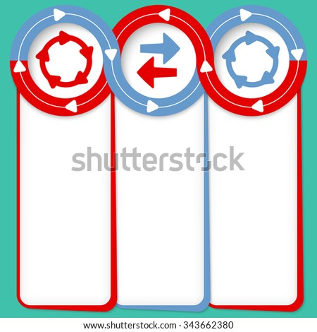 Three connected frames for your text and arrows - stock vector