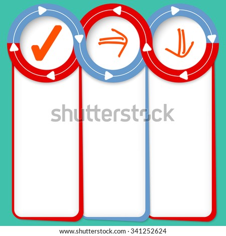 Three connected frames for your text and check box - stock vector
