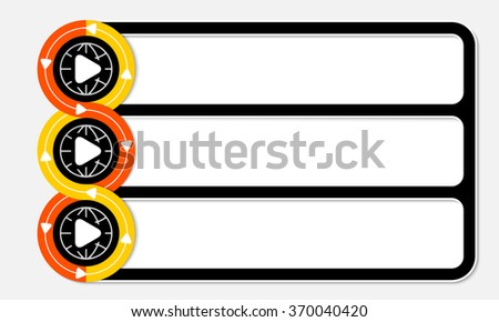 Three connected frames for your text and play symbol - stock vector