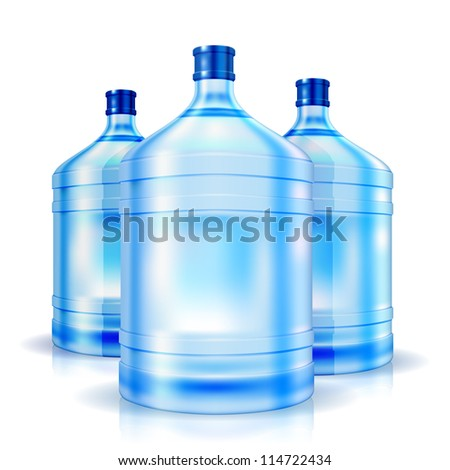Three cooler isolated bottles of water. Vector illustration - stock vector