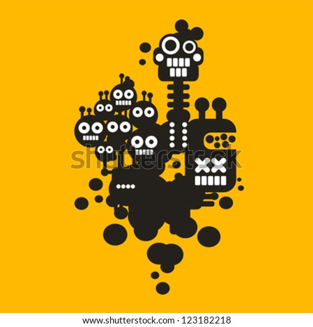 Three crazy monsters. Vector illustration #5. - stock vector
