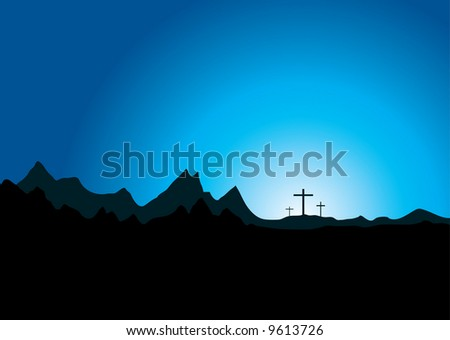 Three crosses in the distance set against a mountain range - stock vector