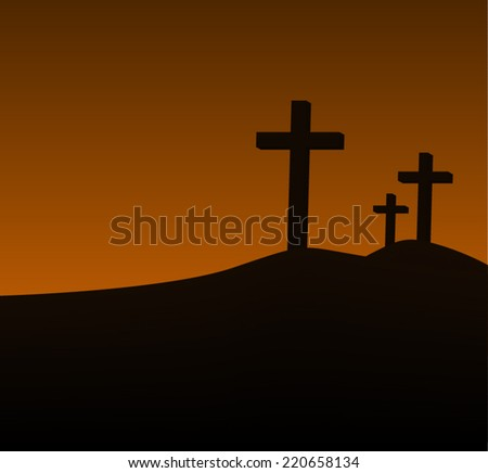 Three crosses on a hill vector - stock vector