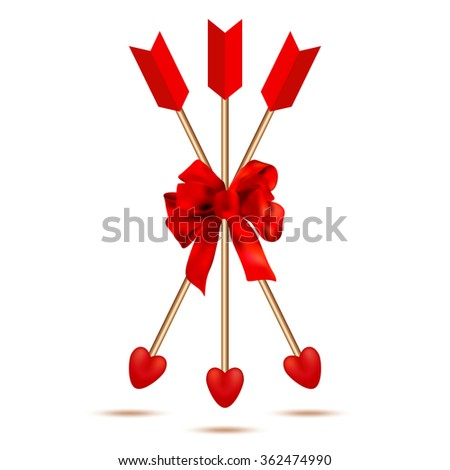 Three Cupid arrows with ribbon bow. Love. Happy valentines day card. Romantic. Wedding. Vector illustration - stock vector