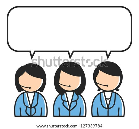 three customer service icon with bubble speech - stock vector