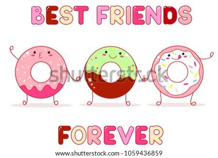 Three Cute Donut Kawaii Style Smiling Stock Vector (2018) 1059436859