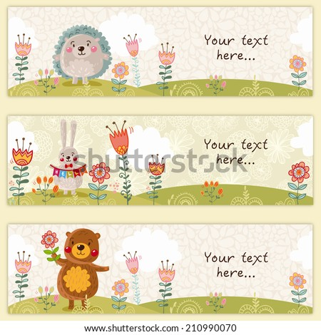 Three cute kids banners with funny bear, rabbit and hedgehog with place for your text - stock vector