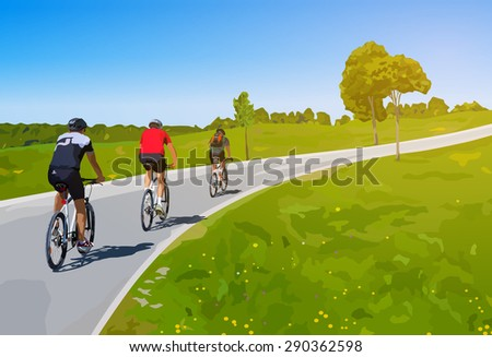 Three cyclists on summer rural road. - stock vector