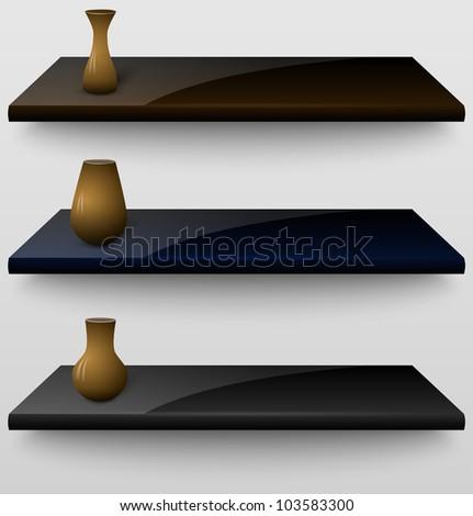 Three 3d shelves with vases. Vector illustration - stock vector