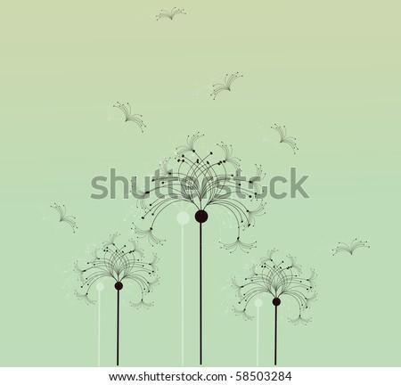 Three dandelion silhouettes - stock vector
