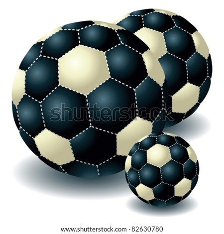 Three dark isolated soccer balls - stock vector