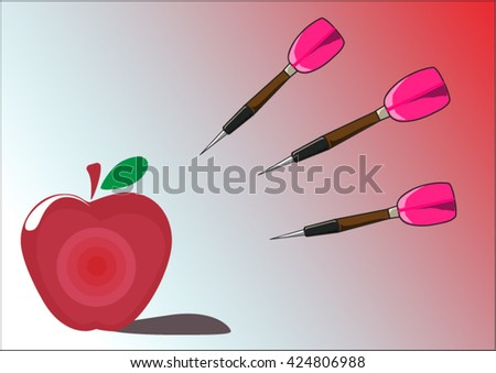 Three dart moving to colorful apple target with lite red background.